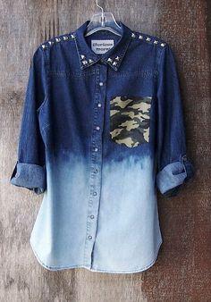 STUDDED DENIM SHIRT Camo pocket shirt ombre by GloriousMorn