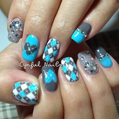 Grey on all nails except ring fingers. Argyle Nails, Plaid Nails, Blue Nails, Sweater Nails, Silver Nails, Plaid Nail Designs, Nail Art Designs, Toe Designs, Nails Design