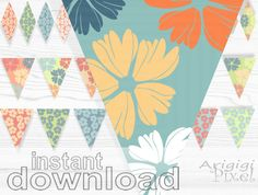 Spring bunting flags printable mini cake banner by ArigigiPixel, $5.99