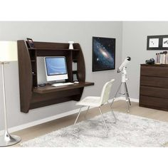 homcom floating wall mount office computer desk. HOMCOM Floating Wall Mount Office Computer Desk With Storage Black Brown White | Pinterest Desk, And Homcom I