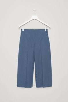 COS image 2 of Cropped wide-leg trousers in Steel Blue
