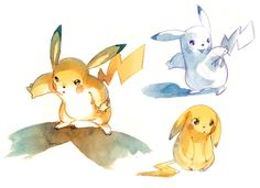 Lindo trabalho do ilustrador e designer NICHOLAS KOLE com personagens do Pokémon em aquarela.