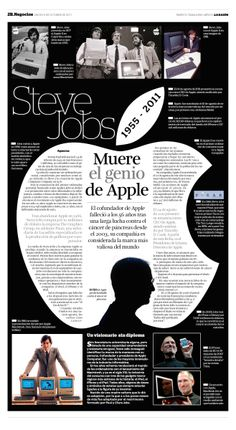 Steve Jobs, Apple's Genius, by Jorge Felipe Vargas (Mexico) Layout Design, Newspaper Design Layout, Print Layout, Page Design, Print Design, Web Design, Steve Jobs, Editorial Layout, Editorial Design