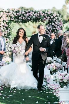 Outdoor floral wedding ceremony idea- pink and purple flowers and greenery arch {With Love by Tara Marie} Double Wedding, Red Wedding, Wedding Ideas, Church Wedding Decorations, Wedding Church, Pink And Purple Flowers, Church Flowers, Las Vegas Weddings, Country Club Wedding