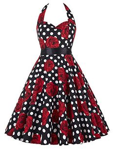 Cotton Floral Vintage Dresses for Women S 19 TS6075 >>> Check out this great product.Note:It is affiliate link to Amazon. #red