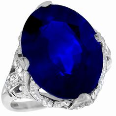 Now here is a real JEWEL. Art Deco 10.86ct Oval Cut Ceylon Sapphire Diamond Ring.