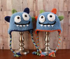 Happy Monster Hat  Baby Boy Hat  Crochet Boys Hat by CatilyCrochet