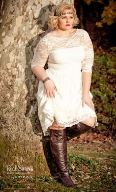 Looks We Love! This is a great look. Plus size Aurora Lace Wedding Dress with a pair of heavy wide calf boots.