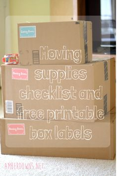 Moving supplies checklist and free printable box labels Moving Binder, Moving Boxes, Moving Supplies, Packing Supplies, Moving Day, Moving Tips, Printable Box, Free Printables, Moving House Checklist