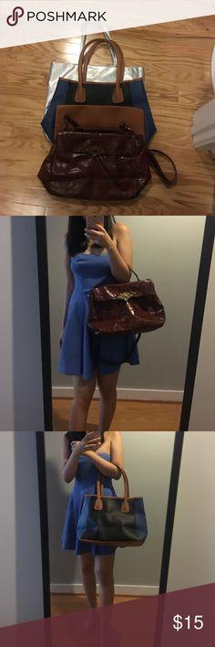 three woman handbags bundle only worn a few times Beyoncé perfume silver tote + Neiman Marcus tote + Charlotte Russe satchel Charlotte Russe Bags Totes
