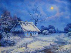 Landscape Drawings, Watercolor Landscape, Landscape Photos, Landscape Paintings, Oil Painting Pictures, Pictures To Paint, Art Pictures, Winter Painting, Winter Art