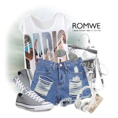"""""""Ripped Fringe Denim Blue Shorts"""" by lenochca ❤ liked on Polyvore featuring Loeffler Randall, Converse, Casetify and Ray-Ban"""