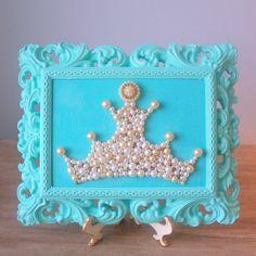 The perfect blue -   Princess Pearl Crown Mosaic Art  $40.00