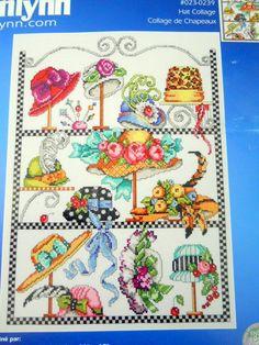 Hat Collage Counted Cross Stitch Kit Jan Lynn 2004 Barbara Baatz Hillman 11x15  #JanLynn #Sampler