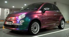 The iconic Fiat 500 in irridescent purple - every teenage girl's dream car...