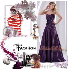 """A-line Hand Made Flowers Beading and Ruch Prom Graduation Dress Eggplant Purple Taffeta"" by gorgeousdressesforyou ❤ liked on Polyvore"