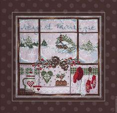 """Вышивка крестом семплер Madame la Fee """"Neige et Montagne"""" Xmas Cross Stitch, Cross Stitch Christmas Ornaments, Cross Stitch Samplers, Christmas Embroidery, Cross Stitch Kits, Christmas Cross, Cross Stitch Charts, Cross Stitch Designs, Cross Stitching"""