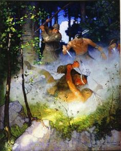 """Wyeth - The Fight in the Forest, illustration from """"The Last of the Mohicans, 1919 by James Fenimore Cooper Frederic Remington, Jamie Wyeth, Andrew Wyeth, Native American Art, American Artists, Native Art, Sibylla Merian, Nc Wyeth, Forest Illustration"""