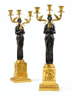 A pair of patinated and gilt-bronze candelabra, Empire style Modern Art, Contemporary, Bronze, French Empire, Luxury Homes, Luxurious Homes, Empire Style, Sculpture, Oil Lamps