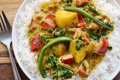 Quick Veggie Curry  coconut oil for cooking  1 onion thinly sliced  2 garlic cloves, crushed  1 Tbsp. grated fresh ginger  1-3 cups chopped fresh veggies  2-3 tsp. curry paste  1/4 tsp. celtic sea salt  1 14 oz (398 mL) can coconut milk  A handful of fresh spinach, chard or kale, chopped (remove the stems)  In a large skillet set over medium-high heat, sauté the onions in a drizzle of oil for 2-3 minutes, until soft. Add the garlic and ginger and cook for another minute.