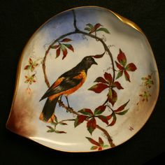 """Rutherford B. Hayes, 19th President of the United States (1877–1881) and First Lady Lucy Hayes ordered State Service china showing the Eagle Seal, which rests on the verso of the plate bearing depictions of American flora and fauna Inspired French srtists. The china was Haviland and consisted of 562 pieces for 9 courses with a total of 130 distinct decorations. (9""""x8"""" dessert plate/Baltimore Oriole)"""