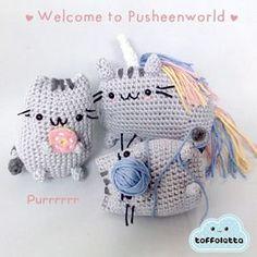 Pusheen the cat cute amigurumi by Toffoletta Gato Crochet, Kawaii Crochet, Knit Or Crochet, Crochet Crafts, Crochet Dolls, Yarn Crafts, Crochet Projects, Amigurumi Free, Amigurumi Patterns