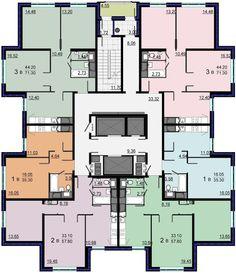 Luxury House Plans, Modern House Plans, House Floor Plans, Apartment Layout, Apartment Plans, Residential Complex, Residential Architecture, Building Plans, Building Design