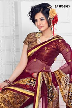 $69 Adorable Brasso And Net Saree From Cbazaar