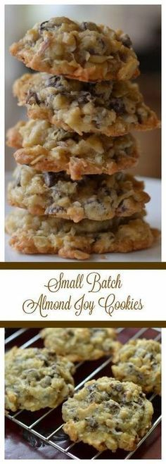 Almond joy cookies - Small Batch Almond Joy Cookies Almond Joy Cookies Cookies Cookies with Almonds Chocolate Chip Cookies Coconut Cookies Dessert Christmas Cookies Almond Joy Small Town Woman almondjoy Crinkle Cookies, Candy Cookies, Yummy Cookies, Cupcake Cookies, Super Cookies, Köstliche Desserts, Delicious Desserts, Dessert Recipes, Coconut Desserts