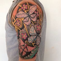 Origami butterflies by Richie at Power Custom Tattoo Parlour in Houghton-le-Spring, England