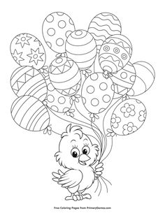 Free printable Easter Coloring Pages eBook for use in your classroom or home from PrimaryGames. Print and color this Chick Holding Easter Balloons coloring page. Easter Coloring Pages Printable, Cute Coloring Pages, Coloring Pages To Print, Adult Coloring Pages, Coloring Books, Free Easter Printables, Stitch Coloring Pages, Easter Colouring, Coloring Pages For Kids