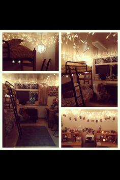 dorm room ideas #lights #decor #bunkbeds #college