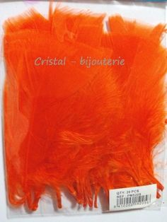 ♥PLU5-03♥ 20 PLUMAS NATURALES TEÑIDAS PUNTA RECTA FEATHER COLOR NARANJA 10 CM♥