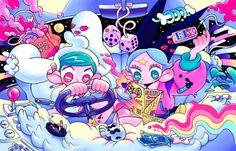 Pretty Art, Cute Art, Vaporwave Art, Emo Art, Bright Art, Art Deco Posters, Pastel Art, Cartoon Art, Art Inspo