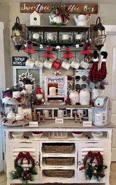 me ~ holiday coffee bar Christmas Coffee, Christmas Kitchen, Country Christmas, Christmas Home, Christmas Crafts, Christmas Ideas, Coffee Bar Home, Coffee Nook, Coffee Bars