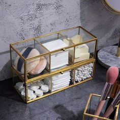 Perfect for keeping accessories and make up supplies organized, the Glass Gold Storage Box adds charm to dressers, shelves and vanities. Makeup Storage Organization, Bathroom Organisation, Bathroom Storage, Vanity Room, Vanity Decor, Bronze Makeup, Makeup Box, My Room, Room Inspiration