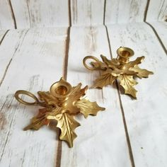 Gold Christmas Candle Holders Vintage Brass by ShabbyChicJCouture