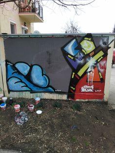 Palic stencil street art in progress