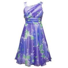 PURPLE GREEN ASSYMETRIC ONE-SHOULDER FLORAL MESH OVERLAY