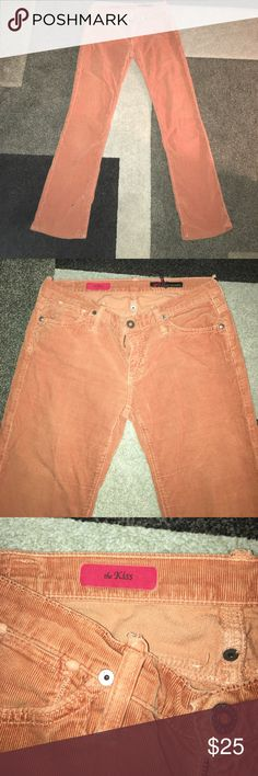 Adriano Goldschneid Rust color the kiss cords 28 Cute, comfy Adriano Goldschneid rust color bootleg corduroys. Size 28 in great shape. Tiny spot on bottom. Fabulous trendy, hipster, hippy pants! 💁🏻 Ag Adriano Goldschmied Pants Boot Cut & Flare