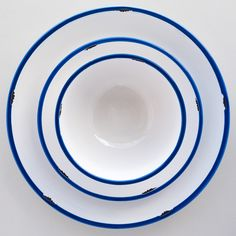 White with Blue Trim Tinware Dinnerware - DISHWARE - DINING + KITCHEN