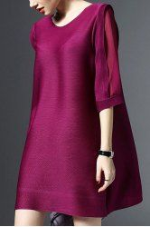 SHARE & Get it FREE | Elegant Round Neck 3/4 Sleeves See-Through Solid Color Dress For WomenFor Fashion Lovers only:80,000+ Items • New Arrivals Daily • Affordable Casual to Chic for Every Occasion Join Sammydress: Get YOUR $50 NOW!