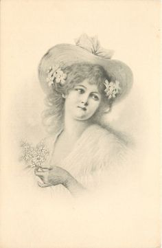 head & shoulders study of pretty woman, her left hand holds spray of flowers, wears hat, flowers in her hair