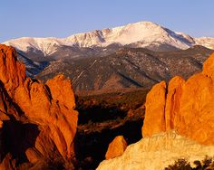 Garden of the Gods in foreground, Pikes Peak in the distance.  Colorado Springs