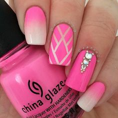 Pink and nude ombre nails with rhinestone