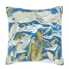Abstract Blue Ripples 18-inch Velour Throw Pillow