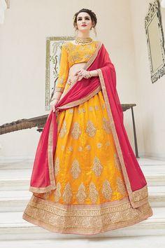 f1c5b7472d8ee Yellow Colour Joya Silk Fabric Party Wear Lehenga Choli Comes with matching  blouse. This Lehenga