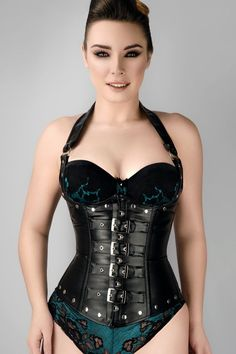 ba60d39dadf Black Leather Look PU Underbust With Halter Strap - US2. Corset Story US