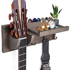 Guitar Wall Hooks, Guitar Hanger, Easy Garage Storage, Storage Shelves, Acoustic Bass Guitar, Bass Guitars, Guitar Stand, Guitar Case, Guitar Accessories