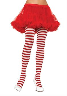 Striped Christmas Candy Cane Tights - These are a plain White candy cane striped tight from the Music Legs collection. Coming in an assortment of different colour combos, with either black as a complementary colour, these 100% Nylon tights are stretchy and easy to wear. These are full tights, meaning they have the full foot and go up to waist. Perfect for any costume requiring striped stockings. #christmas #yyc #costume #legwear